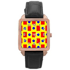 Pattern Design Backdrop Rose Gold Leather Watch  by Amaryn4rt