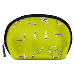 Arrow Line Sign Circle Flat Curve Accessory Pouches (large)  by Amaryn4rt