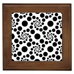 Dot Dots Round Black And White Framed Tiles by Amaryn4rt
