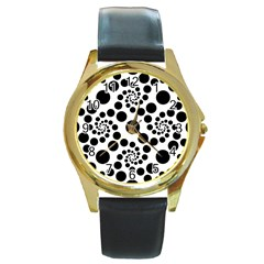 Dot Dots Round Black And White Round Gold Metal Watch by Amaryn4rt