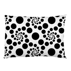 Dot Dots Round Black And White Pillow Case by Amaryn4rt