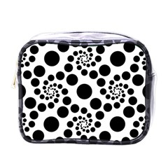 Dot Dots Round Black And White Mini Toiletries Bags by Amaryn4rt