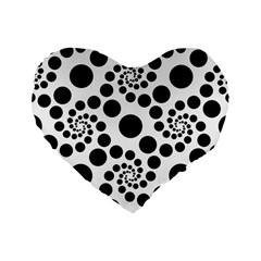 Dot Dots Round Black And White Standard 16  Premium Flano Heart Shape Cushions by Amaryn4rt