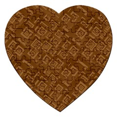 Brown Pattern Rectangle Wallpaper Jigsaw Puzzle (heart) by Amaryn4rt