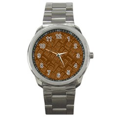 Brown Pattern Rectangle Wallpaper Sport Metal Watch by Amaryn4rt