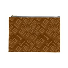 Brown Pattern Rectangle Wallpaper Cosmetic Bag (large)  by Amaryn4rt