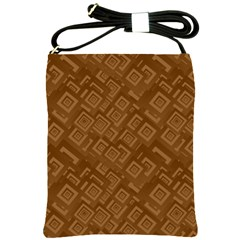 Brown Pattern Rectangle Wallpaper Shoulder Sling Bags by Amaryn4rt