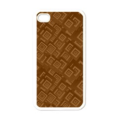 Brown Pattern Rectangle Wallpaper Apple Iphone 4 Case (white) by Amaryn4rt