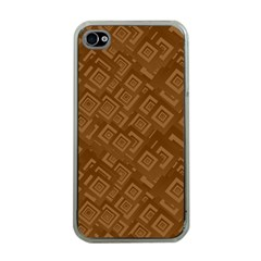Brown Pattern Rectangle Wallpaper Apple Iphone 4 Case (clear) by Amaryn4rt