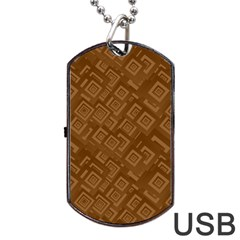 Brown Pattern Rectangle Wallpaper Dog Tag Usb Flash (one Side) by Amaryn4rt