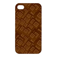 Brown Pattern Rectangle Wallpaper Apple Iphone 4/4s Hardshell Case by Amaryn4rt