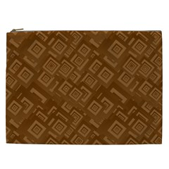 Brown Pattern Rectangle Wallpaper Cosmetic Bag (xxl)  by Amaryn4rt