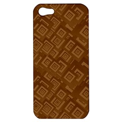 Brown Pattern Rectangle Wallpaper Apple Iphone 5 Hardshell Case by Amaryn4rt