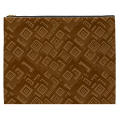 Brown Pattern Rectangle Wallpaper Cosmetic Bag (xxxl)  by Amaryn4rt