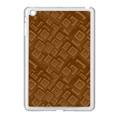 Brown Pattern Rectangle Wallpaper Apple Ipad Mini Case (white) by Amaryn4rt