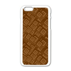 Brown Pattern Rectangle Wallpaper Apple Iphone 6/6s White Enamel Case