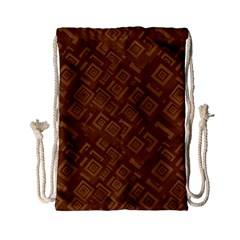 Brown Pattern Rectangle Wallpaper Drawstring Bag (small) by Amaryn4rt