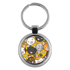 Cats Pattern Key Chains (round)  by Valentinaart