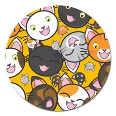 Cats Pattern Magnet 5  (round) by Valentinaart