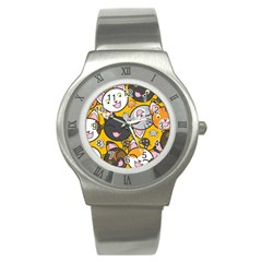 Cats Pattern Stainless Steel Watch