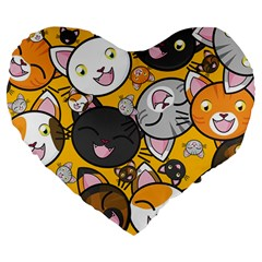Cats Pattern Large 19  Premium Flano Heart Shape Cushions by Valentinaart