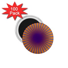 Retro Circle Lines Rays Orange 1 75  Magnets (100 Pack)  by Amaryn4rt