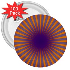 Retro Circle Lines Rays Orange 3  Buttons (100 Pack)  by Amaryn4rt