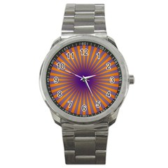 Retro Circle Lines Rays Orange Sport Metal Watch by Amaryn4rt