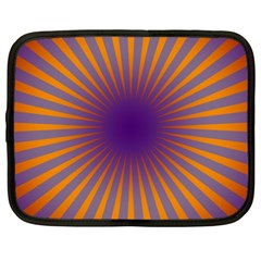 Retro Circle Lines Rays Orange Netbook Case (xl)  by Amaryn4rt