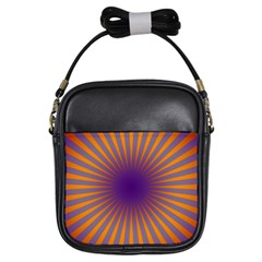 Retro Circle Lines Rays Orange Girls Sling Bags by Amaryn4rt