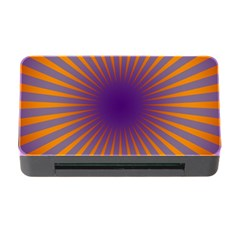 Retro Circle Lines Rays Orange Memory Card Reader With Cf