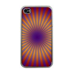 Retro Circle Lines Rays Orange Apple Iphone 4 Case (clear) by Amaryn4rt