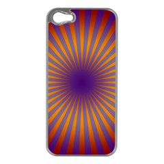 Retro Circle Lines Rays Orange Apple Iphone 5 Case (silver) by Amaryn4rt