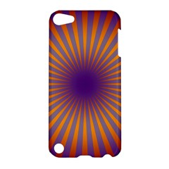 Retro Circle Lines Rays Orange Apple Ipod Touch 5 Hardshell Case by Amaryn4rt