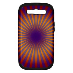 Retro Circle Lines Rays Orange Samsung Galaxy S Iii Hardshell Case (pc+silicone) by Amaryn4rt