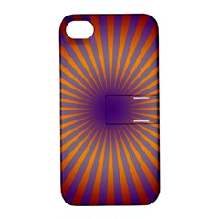 Retro Circle Lines Rays Orange Apple Iphone 4/4s Hardshell Case With Stand by Amaryn4rt