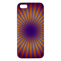 Retro Circle Lines Rays Orange Iphone 5s/ Se Premium Hardshell Case by Amaryn4rt