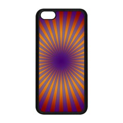 Retro Circle Lines Rays Orange Apple Iphone 5c Seamless Case (black) by Amaryn4rt