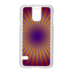 Retro Circle Lines Rays Orange Samsung Galaxy S5 Case (white) by Amaryn4rt