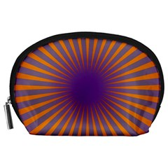 Retro Circle Lines Rays Orange Accessory Pouches (large)  by Amaryn4rt