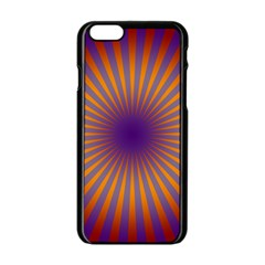 Retro Circle Lines Rays Orange Apple Iphone 6/6s Black Enamel Case by Amaryn4rt