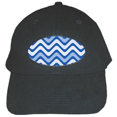 Waves Wavy Lines Pattern Design Black Cap by Amaryn4rt