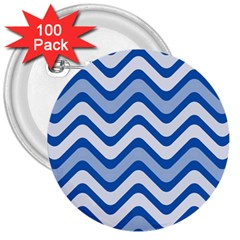Waves Wavy Lines Pattern Design 3  Buttons (100 Pack)  by Amaryn4rt