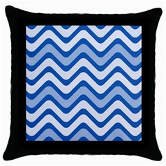 Waves Wavy Lines Pattern Design Throw Pillow Case (black) by Amaryn4rt