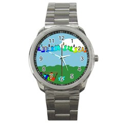 Welly Boot Rainbow Clothesline Sport Metal Watch by Amaryn4rt