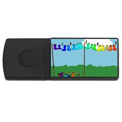 Welly Boot Rainbow Clothesline Usb Flash Drive Rectangular (4 Gb) by Amaryn4rt