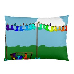 Welly Boot Rainbow Clothesline Pillow Case (two Sides) by Amaryn4rt