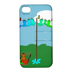 Welly Boot Rainbow Clothesline Apple Iphone 4/4s Hardshell Case With Stand by Amaryn4rt