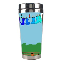 Welly Boot Rainbow Clothesline Stainless Steel Travel Tumblers by Amaryn4rt