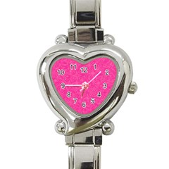 Geometric Pattern Wallpaper Pink Heart Italian Charm Watch by Amaryn4rt